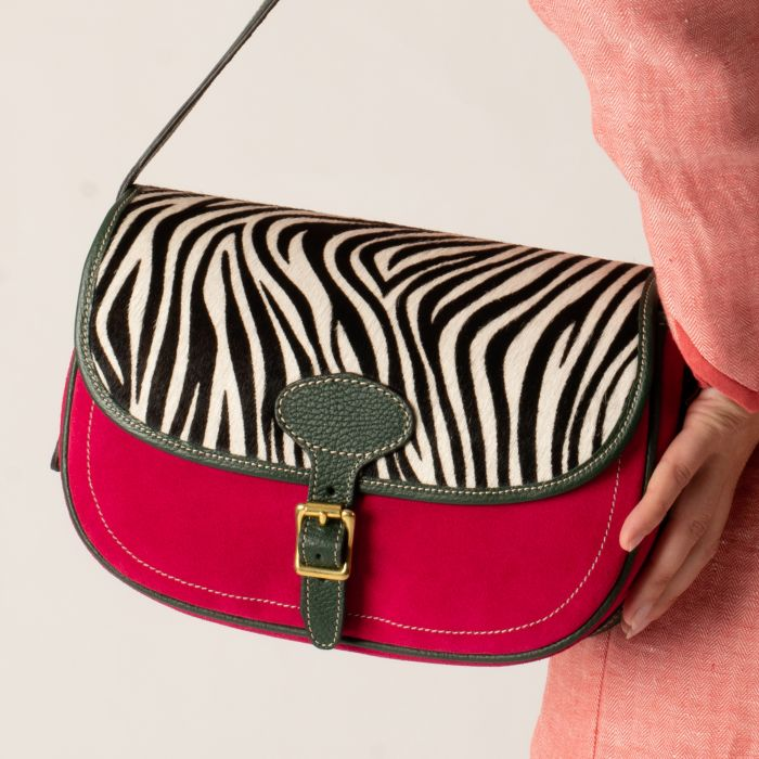 Zebra Suede and Leather Cartridge Bag