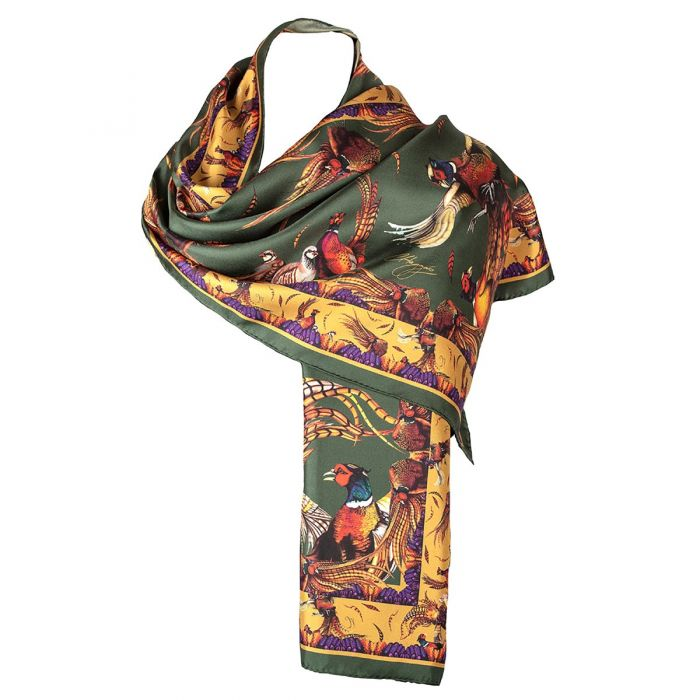 George & Friends Classic Khaki Silk Scarf