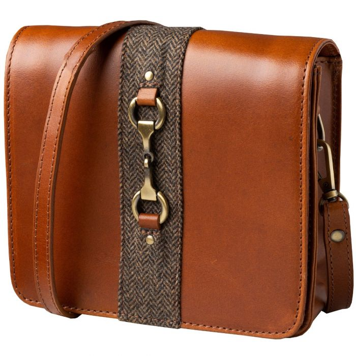 Tan Leather and Tweed Shoulder Bag