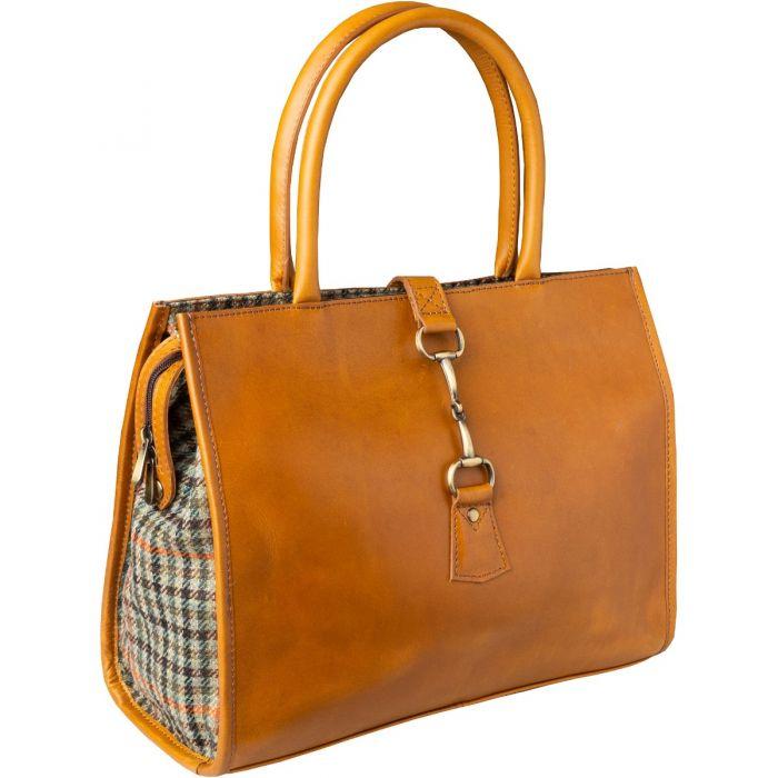 Tan Large Leather and Tweed Trim Bag