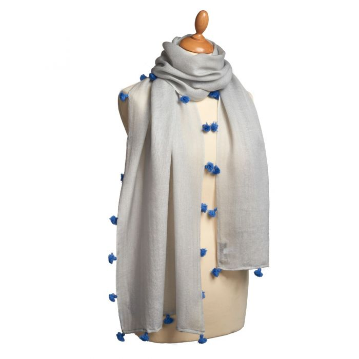 Blue Tassel Nepalese Wool and Cashmere Scarf