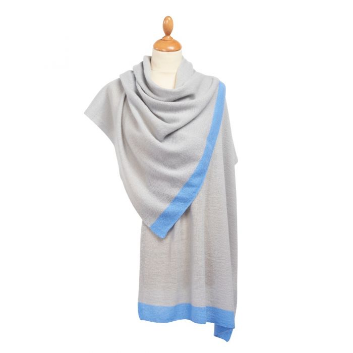 Blue Tipped Nepalese Cashmere Scarf
