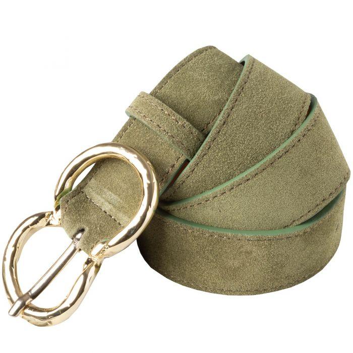 Khaki Suede Double Buckle Belt