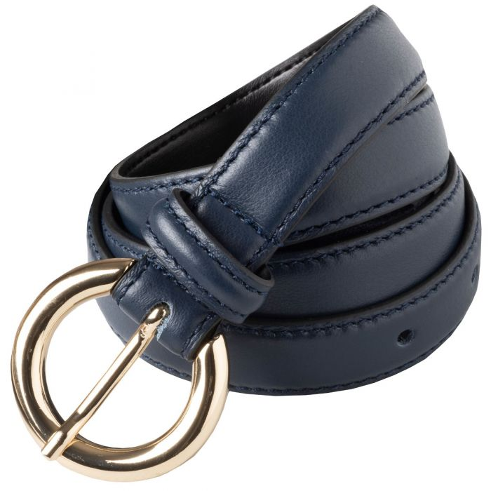 Navy Thin Leather Gold Buckle Belt