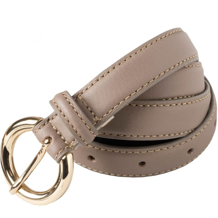 Taupe Thin Leather Gold Buckle Belt