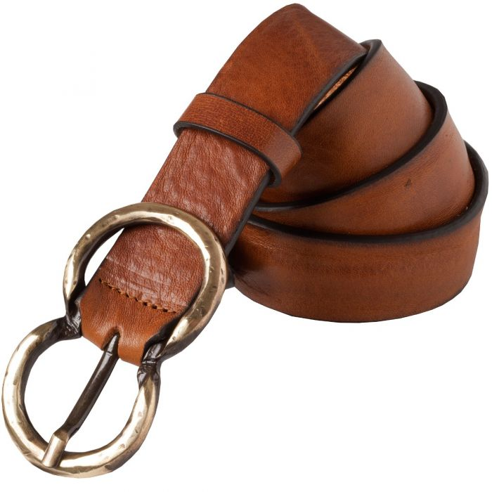 Tan Leather Gold Double Buckle Belt