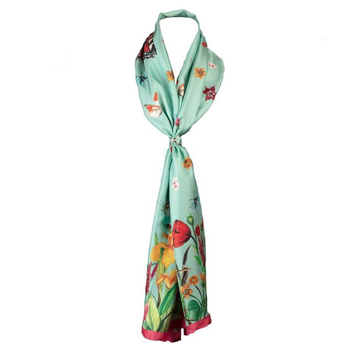Pastures New Large Mint Square Silk Scarf