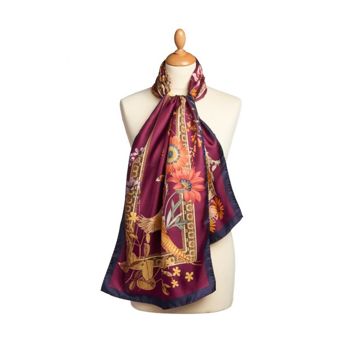 Wine Silk Pheasant Scarf