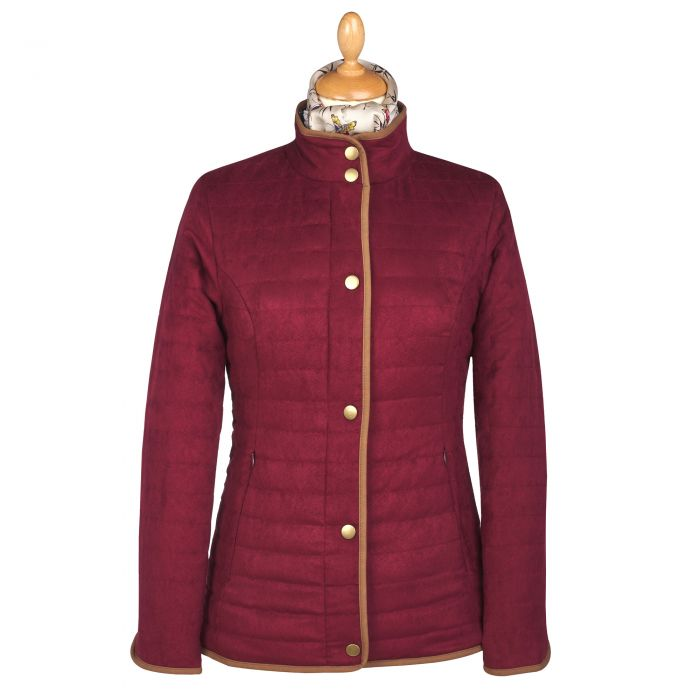 Wine Quilted Classic Jacket