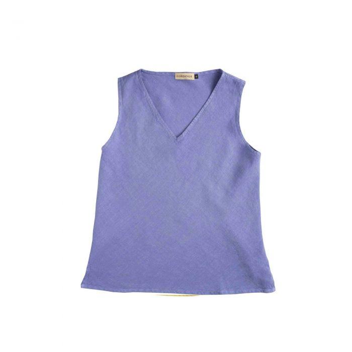 Lilac Linen V-Neck Sleeveless Top