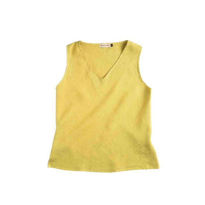 Lime Linen V-Neck Sleeveless Top