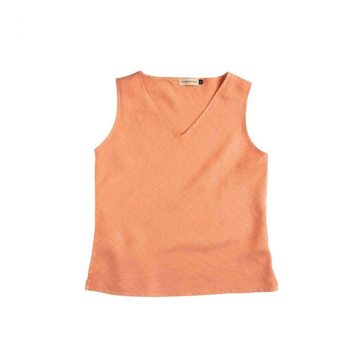 Peach Linen V-Neck Sleeveless Top