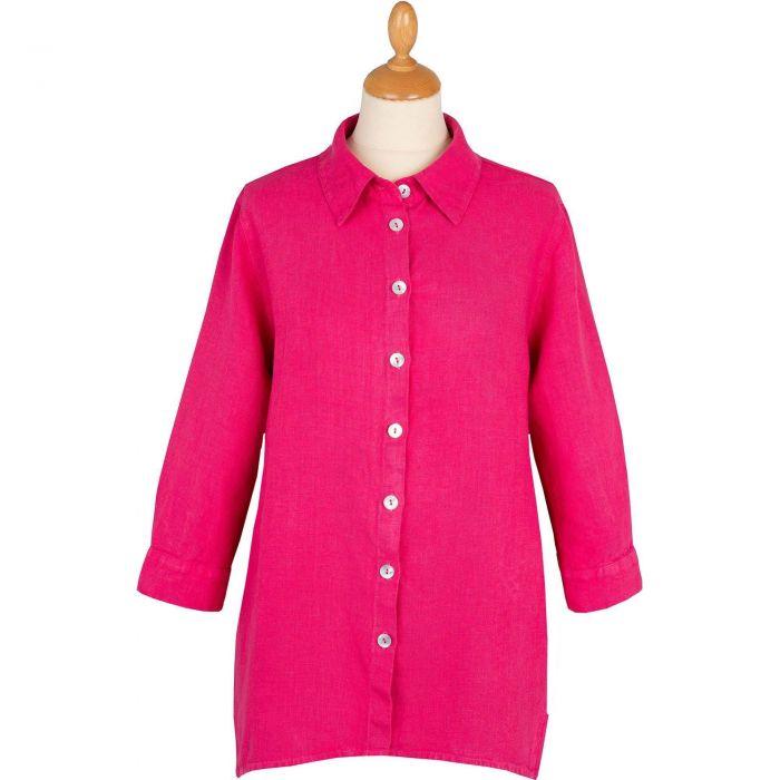 Fuchsia Casual Linen Shirt