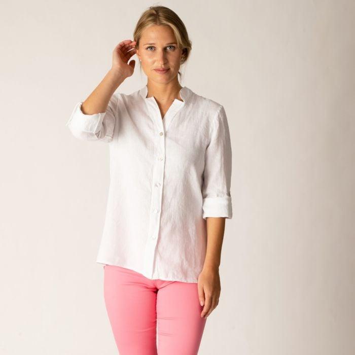 White Nehru Linen Shirt