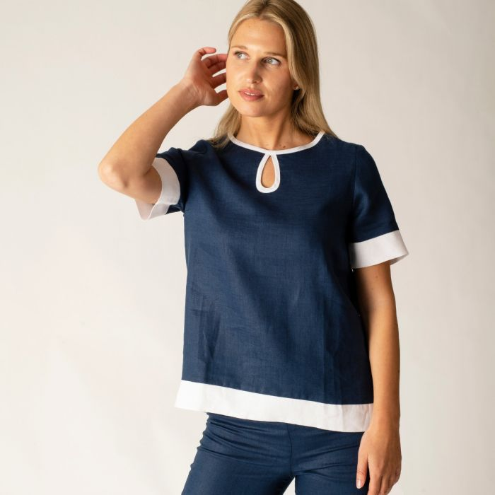 Navy and White Contrast Keyhole Linen Top
