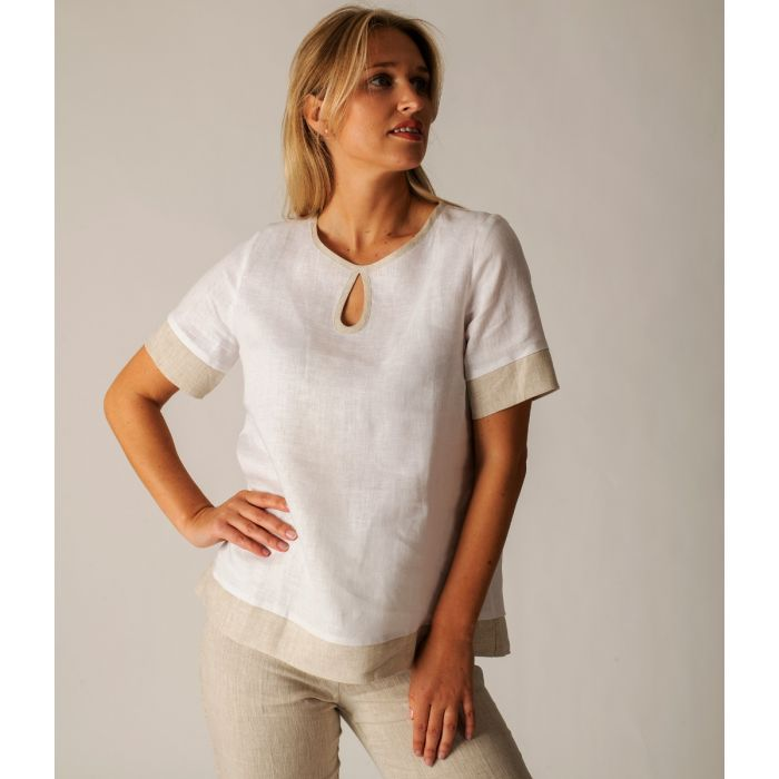 White and Taupe Contrast Keyhole Linen Top
