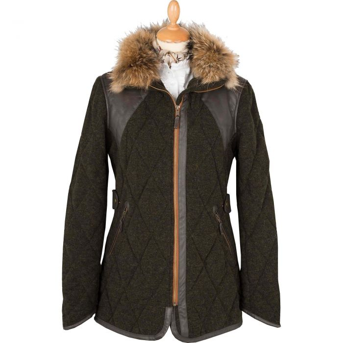 Green Olive Highworth Quilted Field Coat