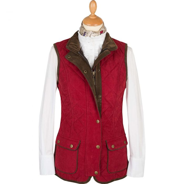 Wine Microfibre Baleno Quilted Paddock Gilet