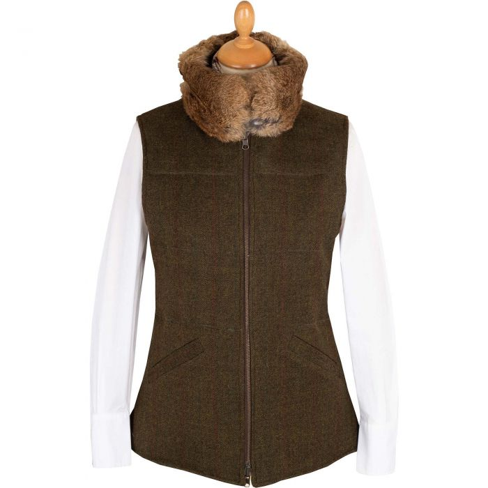 Olive T. Ba Reversible Gilet with Fur Collar