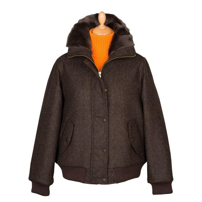 Brown St James Tweed Bomber Jacket
