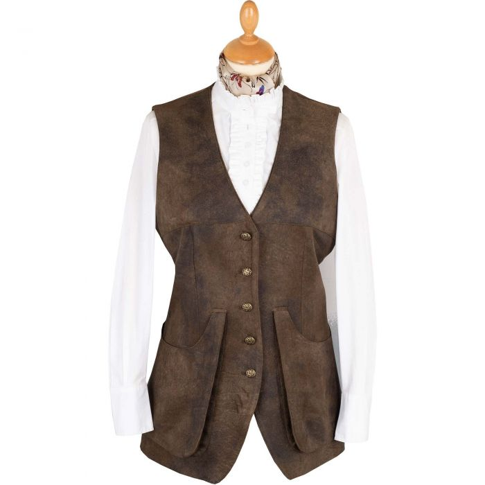 T. Ba Brown Leather-Feel Shooting Vest