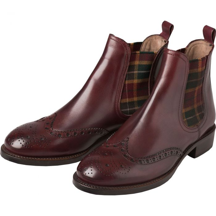 Bordeaux Chelsea Boot with Check Gusset
