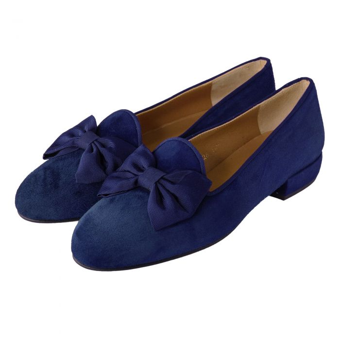 Mid Navy Suede Bow Slipper