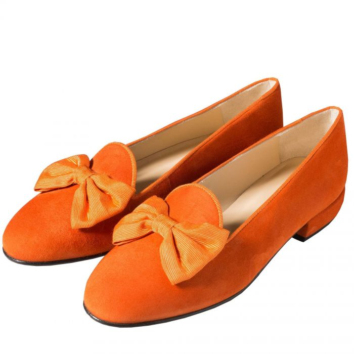 Orange Suede Bow Slipper