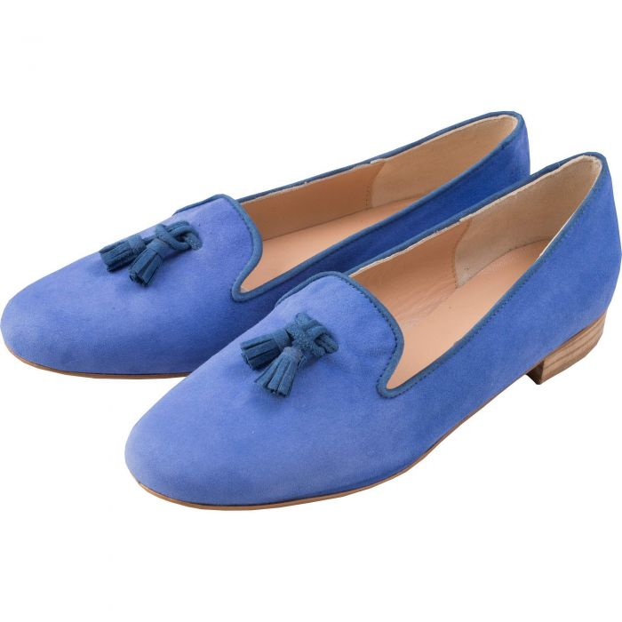 Blue Suede Tassel Slipper