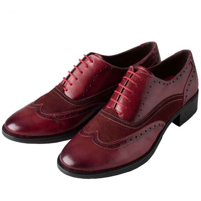 Deep Bordeaux Leather and Suede Brogue Shoes