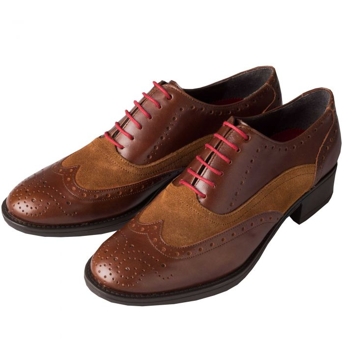 Brown Leather and Suede Brogue Shoes