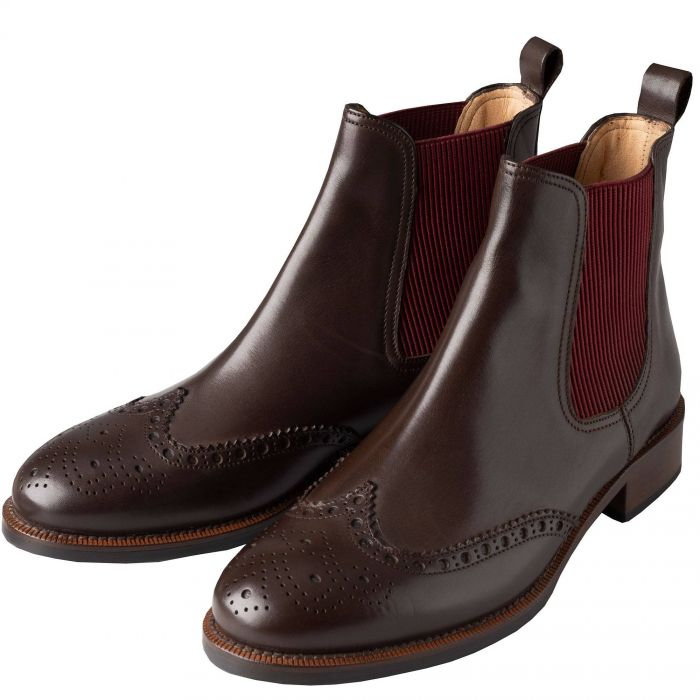 Brown Leather Brogue Chelsea Boots
