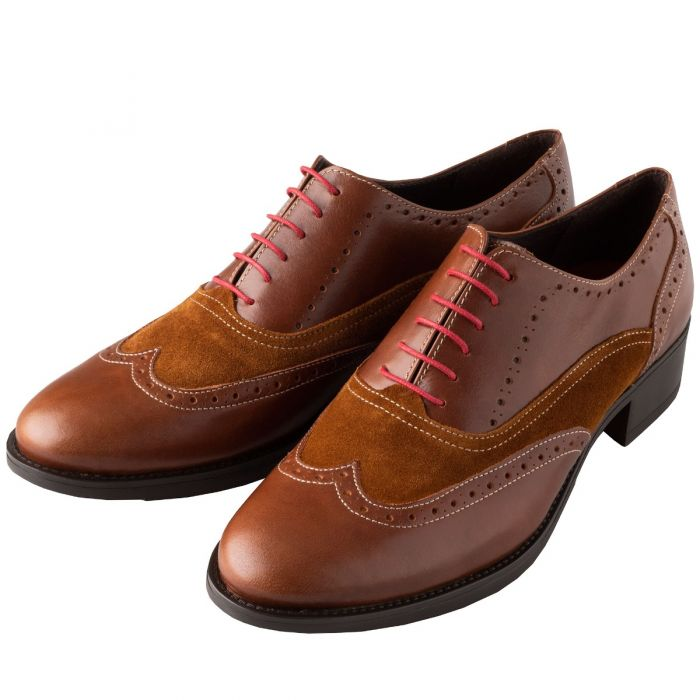Mid Tan Leather and Suede Brogue Shoes
