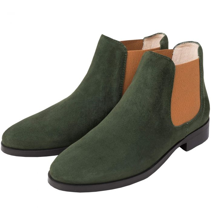 Olive Suede Chelsea Boot with Contrast Gusset