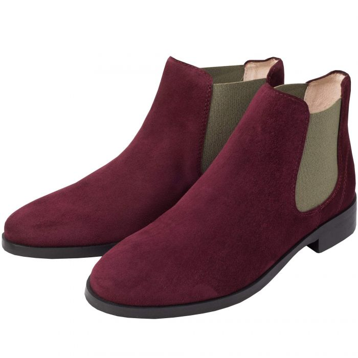 Wine Suede Chelsea Boot with Contrast Gusset