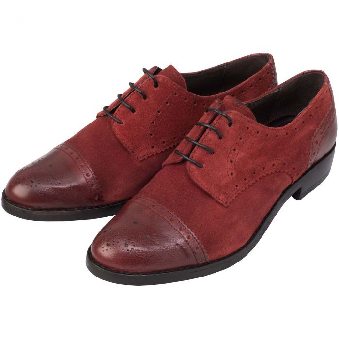 Bordeaux Suede Leather Toe Brogues