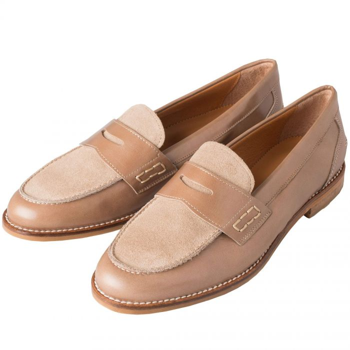 Taupe Suede and Leather Penny Loafer