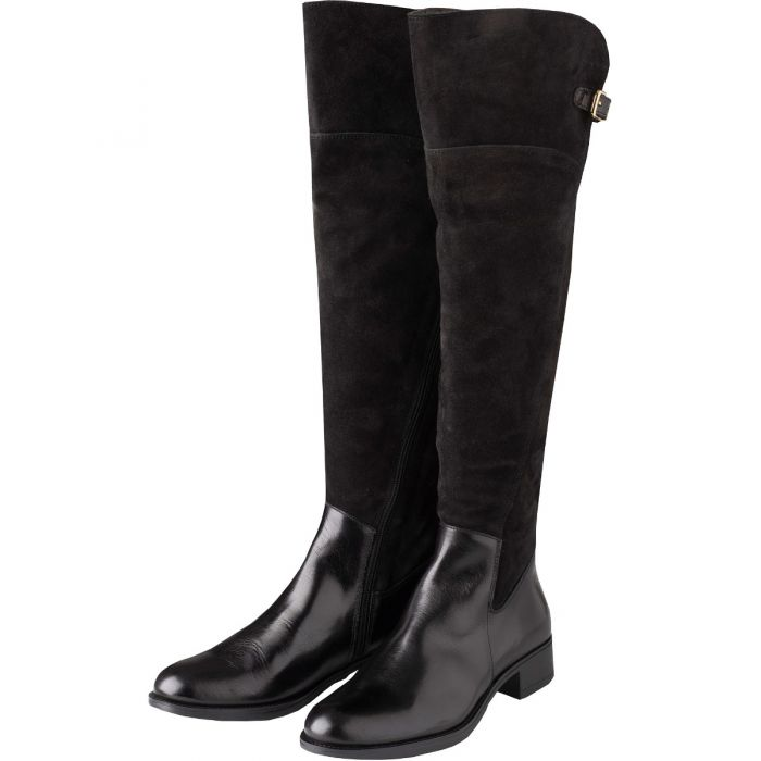 Black Suede and Leather Buckle Long Boot