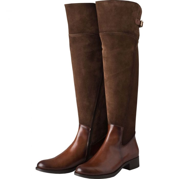 Chocolate Suede and Leather Buckle Long Boot