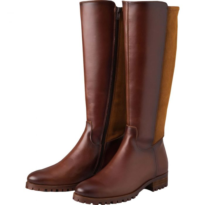 Chestnut Brown Suede and Leather Long Boot