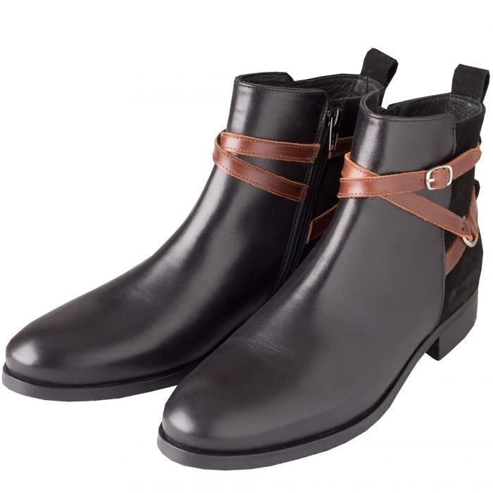 Black Buckle Leather Ankle Boot