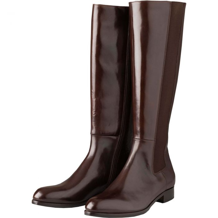 Chocolate Long Leather Gusset Boots