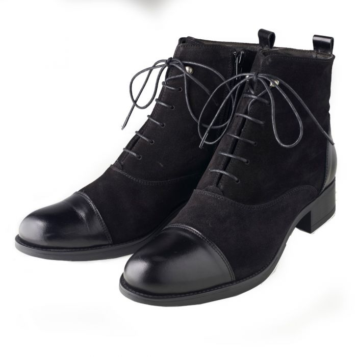 Black Leather Lace Up Ankle Boots