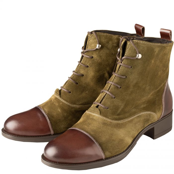 Olive Green Leather Lace Up Ankle Boots