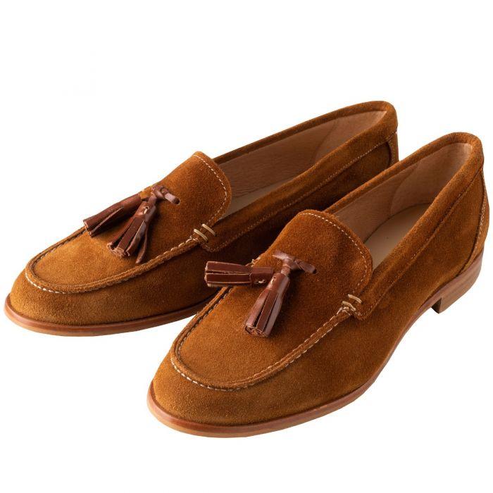Tan Suede Tassel Loafers