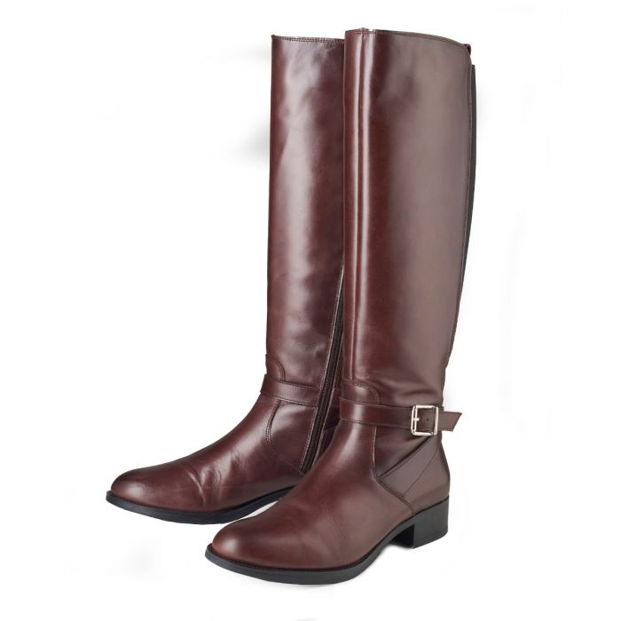 Long Brown Buckle Boot