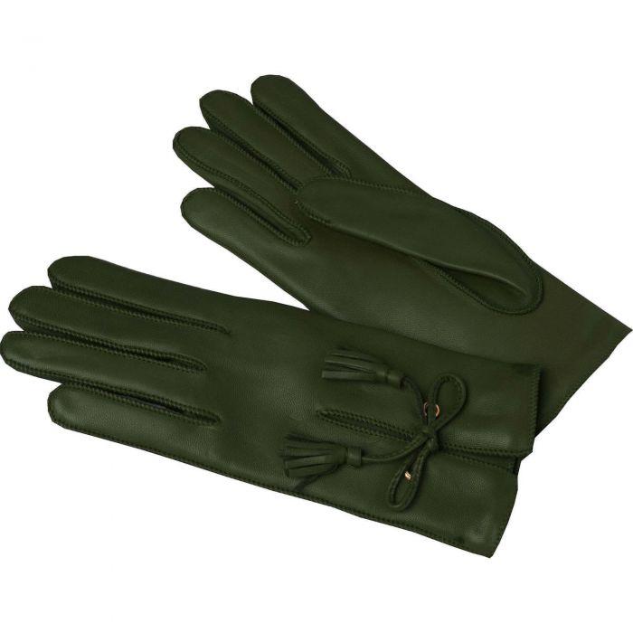 Olive Green Leather Tassel Gloves