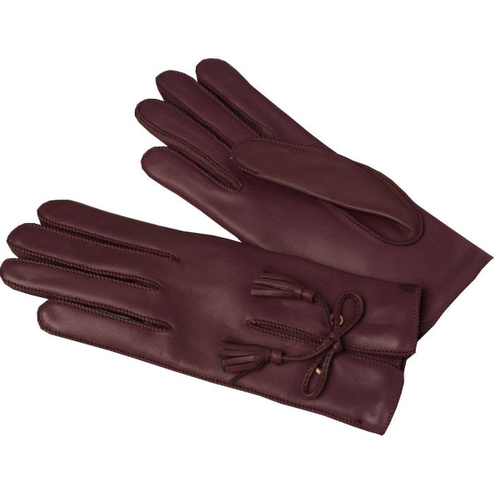 Wine Leather Tassel Gloves