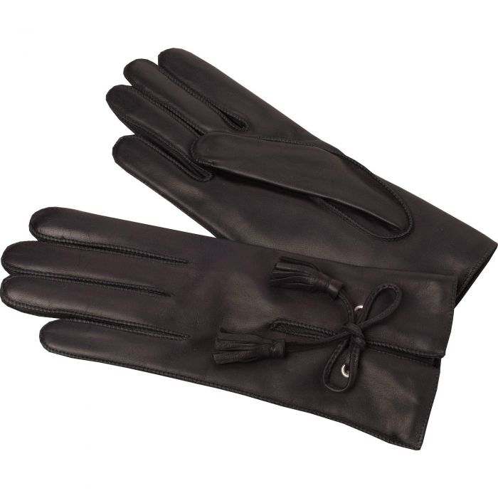 Black Leather Tassel Gloves