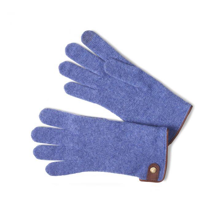 Blue Merino Leather Tag Trim Glove